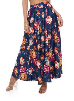 Floral Maxi Skater Skirt - 1406056126598