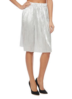 Metallic Midi Length Pleated Skirt - 1406056578282