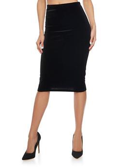 Velvet Midi Pencil Skirt - 1406063400704