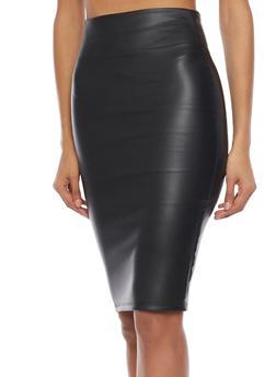 Leather Midi Pencil Skirt - 1406068511435