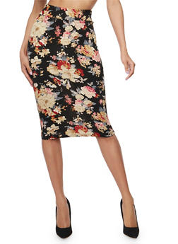 Mid Length Floral Print Pencil Skirt - BLACK - 1406068512425