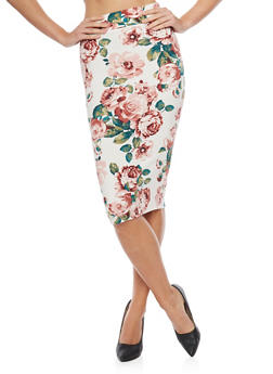 Mid Length Floral Print Pencil Skirt - 1406068512425