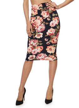 Mid Length Floral Print Pencil Skirt - NAVY - 1406068512425