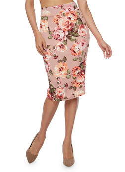 Mid Length Floral Print Pencil Skirt - MAUVE - 1406068512425