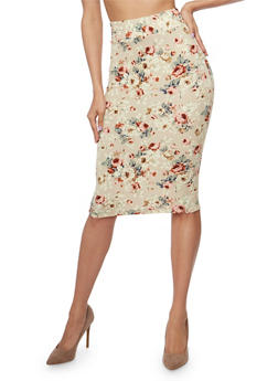 Mid Length Floral Print Pencil Skirt - STONE - 1406068512425