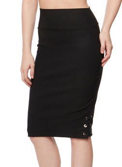 Solid Pencil Skirt with Lace Up Hem - 1406068512484