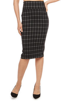 Plaid Pencil Skirt - BLACK/WHITE  10571 - 1406068514314