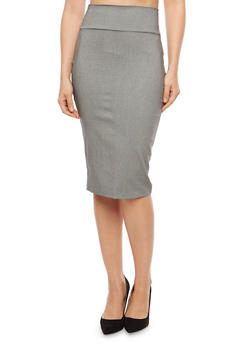 Plaid Pencil Skirt - STONE BLK 10623 - 1406068514314