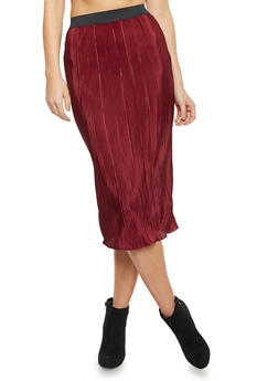 Pleated Midi Skirt - 1406068514760