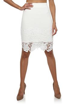 Crochet Hem Pencil Skirt - WHITE - 1406069390003