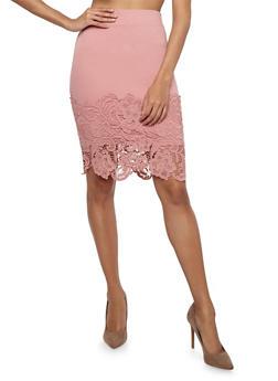 Crochet Hem Pencil Skirt - ROSE - 1406069390003