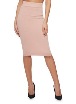Mid Length Rib Knit Pencil Skirt - 1406069390017