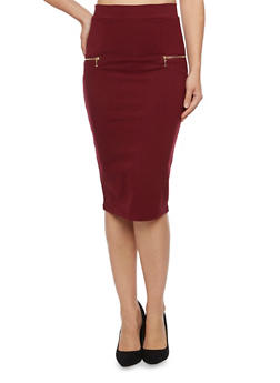 Pencil Skirt with Zipper Accents - BURGUNDY - 1406069390019