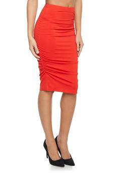 Pencil Skirt with Ruched Sides - 1406069390029