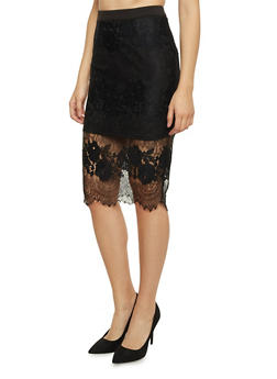 Midi Pencil Skirt with Lace Overlay - 1406069390042