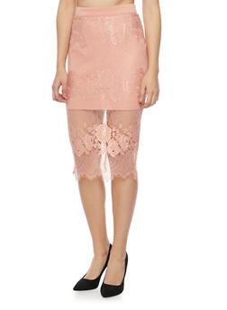 Midi Pencil Skirt with Lace Overlay - MAUVE - 1406069390042