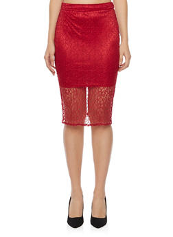 Midi Skirt with Lace Overlay - 1406069390045