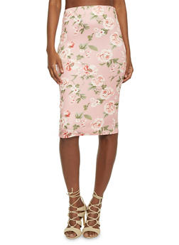 Mid Length Floral Pencil Skirt with Back Slit - 1406069390048