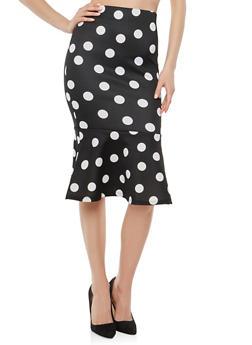 Flounce Hem Polka Dot Pencil Skirt - BLACK/WHITE - 1406069390072