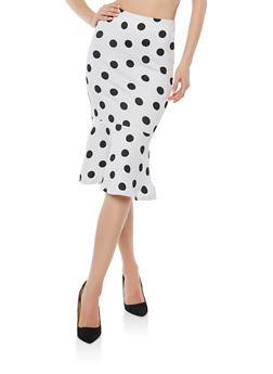Flounce Hem Polka Dot Pencil Skirt - WHT-BLK - 1406069390072
