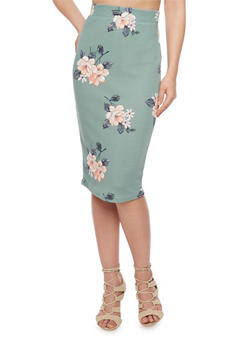 Floral Printed Midi Pencil Skirt - 1406069390100