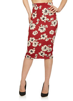 Mid Length Floral Pencil Skirt - BURGUNDY - 1406069390101