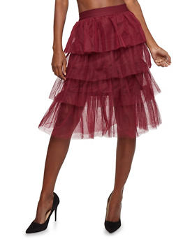 Tiered Tulle Mid Length Skirt - 1406069390132