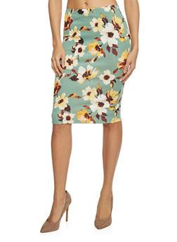 Floral Print Pencil Skirt - 1406069390837