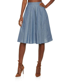 Chambray Pleated Midi Skater Skirt - 1406069391000