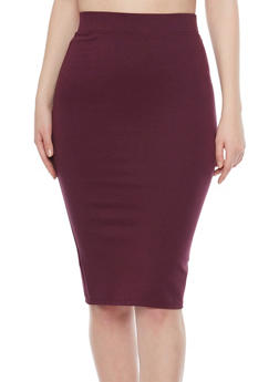 Elastic Waistband Pencil Skirt - 1406069391009