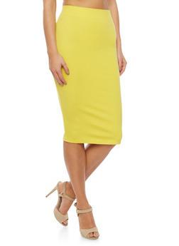 Elastic Waistband Pencil Skirt - MUSTARD - 1406069391009