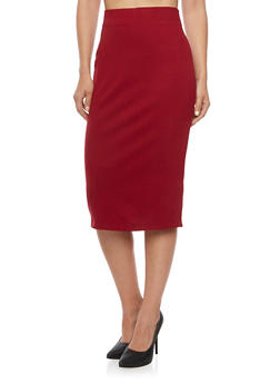 Elastic Waistband Pencil Skirt - BURGUNDY - 1406069391009