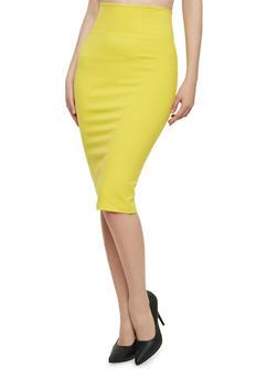 Solid Pencil Skirt - MUSTARD - 1406069391010