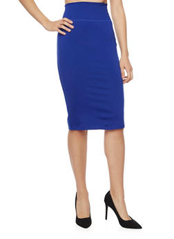 Solid Pencil Skirt - 1406069391010