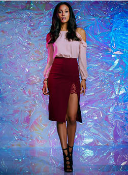 Midi Skirt with High Slit Lace Detail - PLUM - 1406069391043