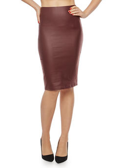 Coated Pencil Skirt - 1406069391051