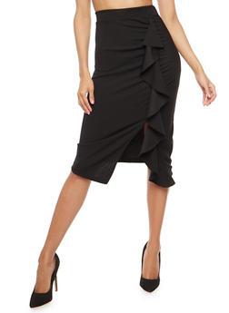 Scuba Knit Ruffled Detail Pencil Skirt - 1406069391088