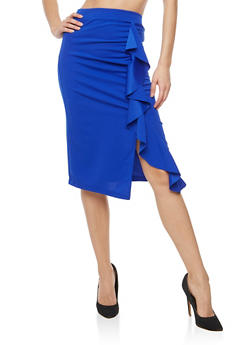 Scuba Knit Ruffled Detail Pencil Skirt - 1406069391088