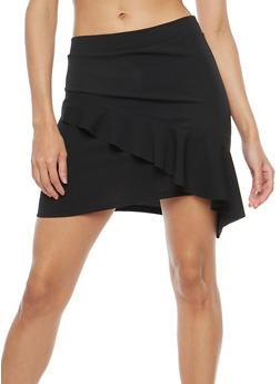 Scuba Knit Ruffled Asymmetrical Mini Skirt - 1406069391099