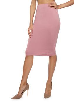 Soft Knit Pencil Skirt - MAUVE - 1406069391111