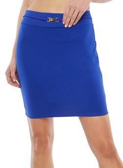 Belted Ponte Mini Skirt - 1406069391112