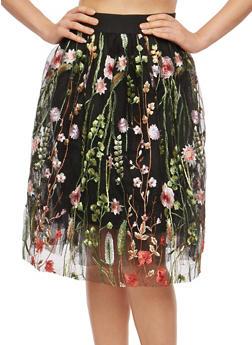 Embroidered Tulle Skater Skirt - 1406069391117