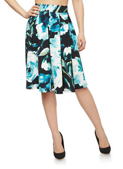 Textured Floral Pleated Skirt - 1406069391118