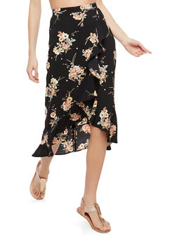Floral Ruffle Faux Wrap Skirt - 1406069391119
