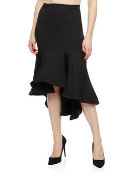 Flounce Hem Pencil Skirt - 1406069391123