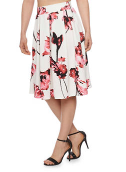 Pleated Texture Knit Floral Skater Skirt - 1406069391133