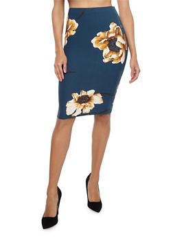 Floral Soft Knit Pencil Skirt - 1406069391264