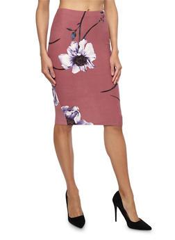 Floral Soft Knit Pencil Skirt - 1406069391264