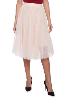 Skirt with Tiered Tulle Overlays - BLUSH - 1406069394000