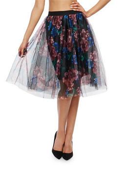 Floral Mesh Skater Skirt - 1406069394011